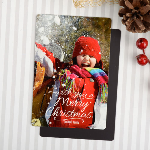Wishes Personalized Photo Christmas Magnet 4x6 Large