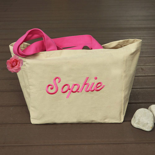 Personalized Embroidered Cotton Tote Bag, Beige