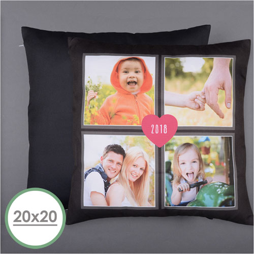 Four Collage And Heart Personalized Photo Pillow 20X20  Cushion (No Insert)