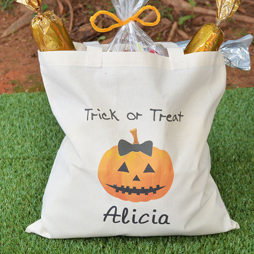 Halloween Trick Or Treat Bags Personalized.Pumpkin Personalized Halloween Trick Or Treat Bag For Girls