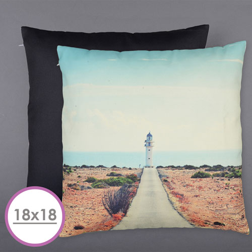18 X 18 All Over Print Pillow (Black Back)  Cushion (No Insert)