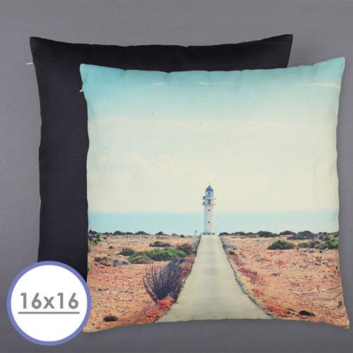 16 X 16 All Over Print Pillow (Black Back)  Cushion (No Insert)