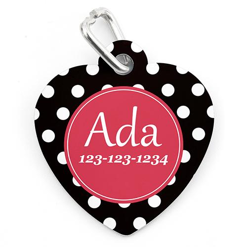 Polka Dot Personalized Pet Tag Heart Shape