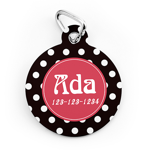Polka Dot Personalized Pet Tag Round Shape