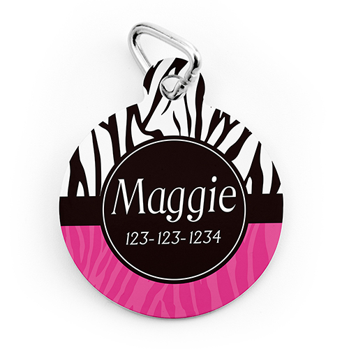Zebra Dot Personalized Pet Tag Round Shape