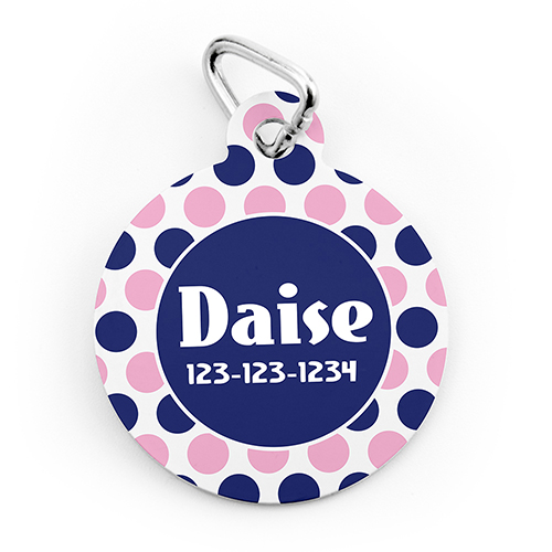 Navy Pink Dot Personalized Pet Tag Round Shape