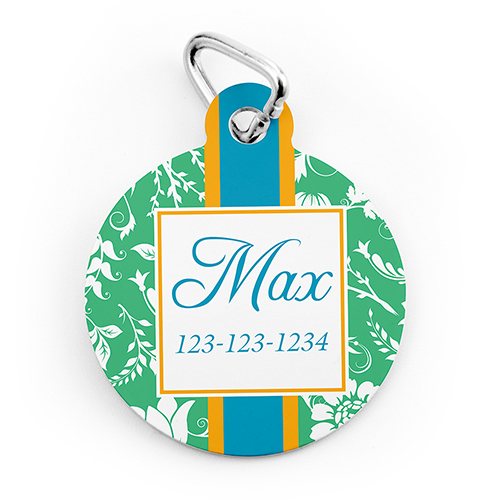 Green Floral Personalized Pet Tag Round Shape