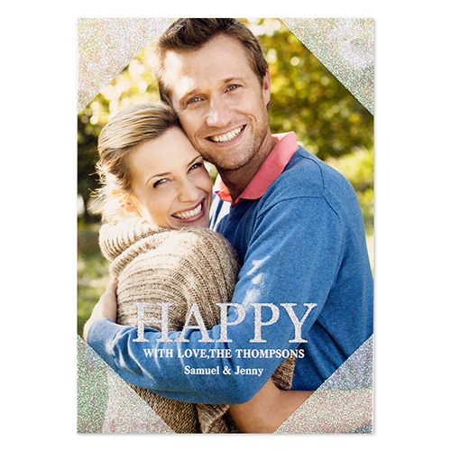 Happy Silver Glitter Personalized Photo Christmas Card 5X7