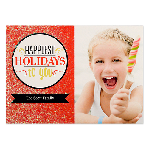 Red Happiest Holidays Red Glitter Personalized Photo Christmas Card 5x7