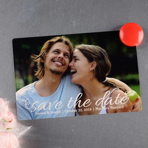 Script Personalized Photo Save The Date Magnet 4x6 Large