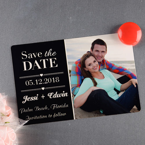 Black Personalized Save The Date Photo Magnet 4x6 Large