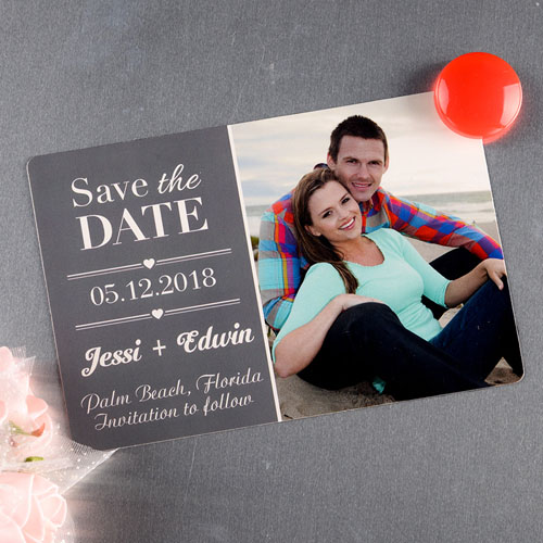 Grey Personalized Save The Date Photo Magnet 4x6 Large