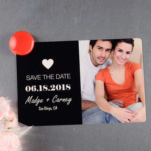Black Heart Personalized Save The Date Photo Magnet 4x6 Large