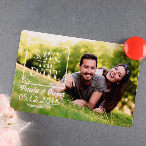 Vintage Personalized Save The Date Photo Magnet 4x6 Large