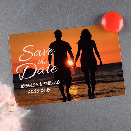 Simple Script Personalized Save The Date Photo Magnet 4x6 Large