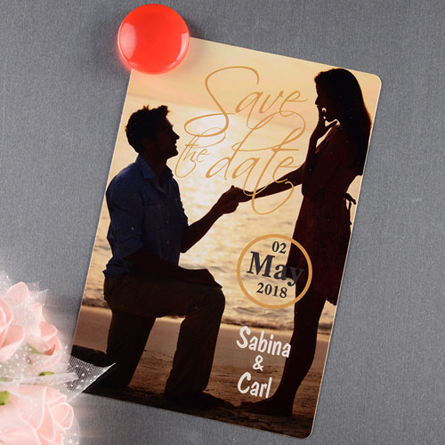Foil Personalized Photo Save The Date Magnet 4x6 Large