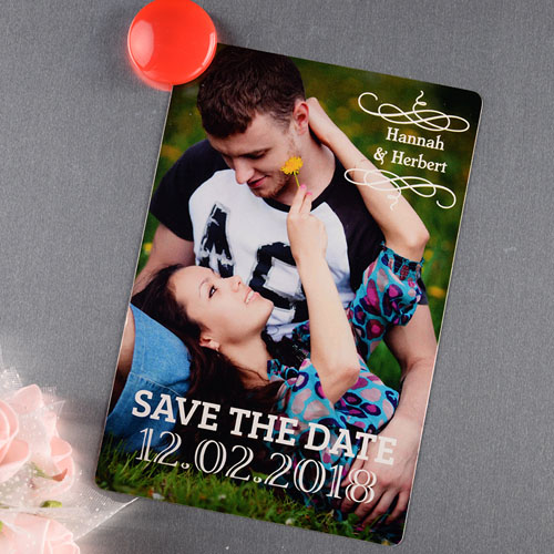 Simple Personalized Save The Date Photo Magnet 4x6 Large