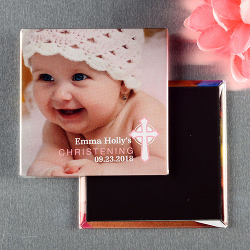 Cross Girl Christening Personalized Photo Magnet Keepsake