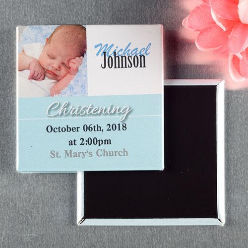 Blue Christening Baptism Personalized Photo Magnet Keepsake
