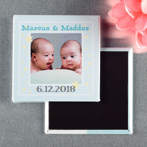 Twins Boy Christening Personalized Photo Magnet Keepsake