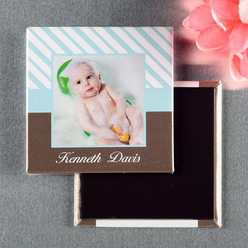 Baby Blue Frame Personalized Photo Magnet Keepsake