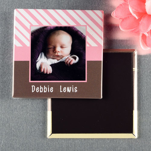 Baby Pink Frame Personalized Photo Magnet Keepsake