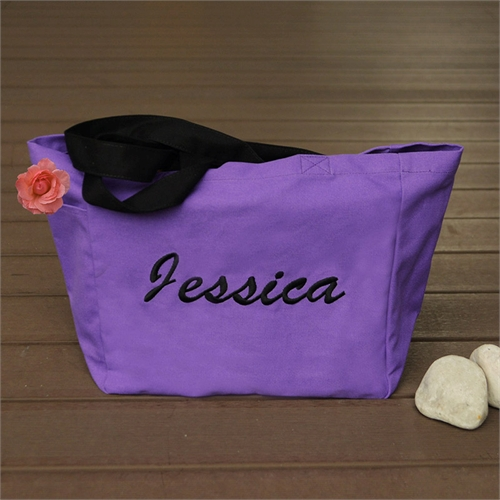 Personalized Embroidered Cotton Tote Bag, Purple