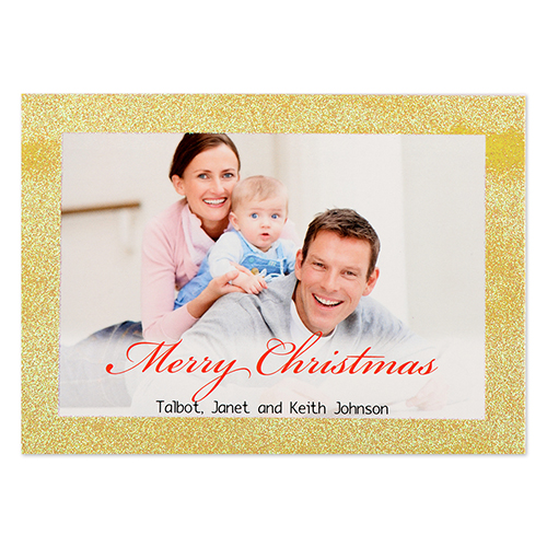 gold glitter frame personalized photo christmas card 5x7