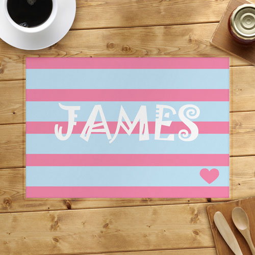 Stripe And Heart Personalized Placemat, Blue