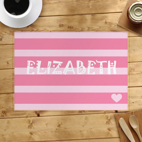 Stripe And Heart Personalized Placemat, Pink