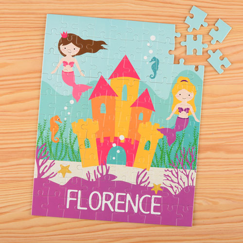 Mermaid Personalized Name Kids Puzzle, 8X10