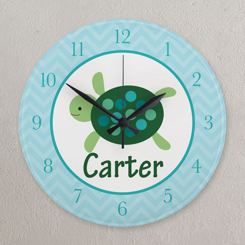 Aqua And Green Elephant Personalized Clock, Round 10.75