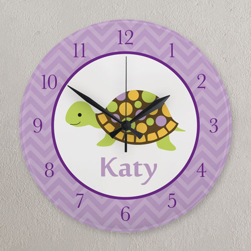 Purple Turtle Personalized Clock, Round 10.75