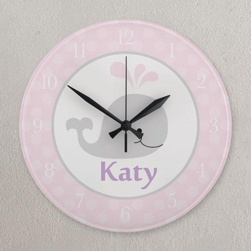 Pink And Grey Whale Personalized Clock, Round 10.75