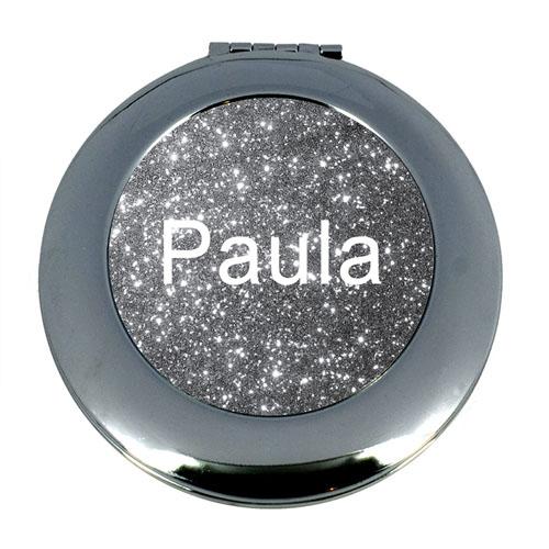 Silver Glitter Personalized Mirror For Bridesmaids, Round