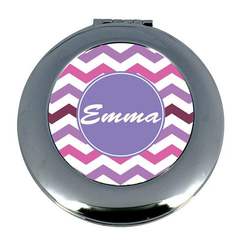 Purple Chevron Personalized Mirror For Bridesmaids, Round