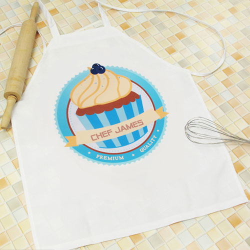 Cupcake Personalized Adult Apron, Blue