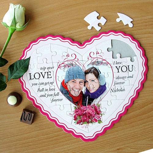 Love Message Personalized Heart Shape Puzzle