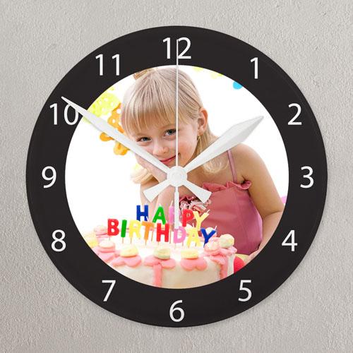 Black Frame Personalized Acrylic Clock Custom Printed