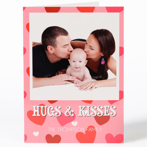 Hugs & Kisses Personalized Photo Valentine's Card, 5X7 Folded