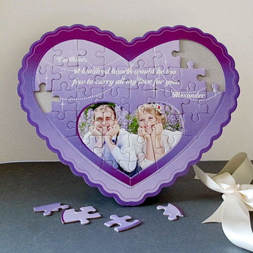 Love You Personalized Heart Shape Puzzle