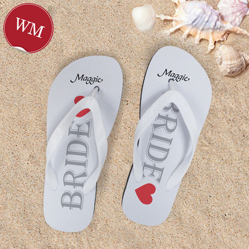 White Bride Personalized Wedding Flip Flops, Women Medium