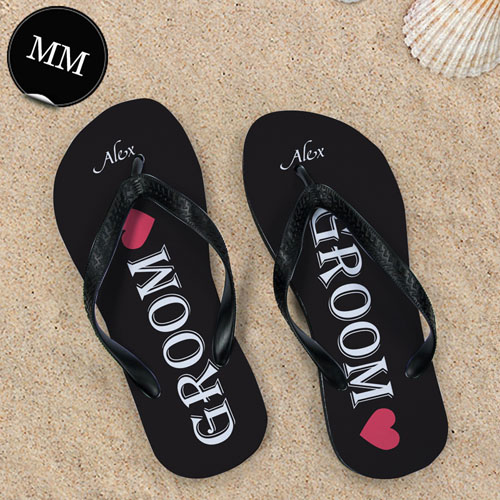6c6f81146b1a Black Groom Personalized Wedding Flip Flops