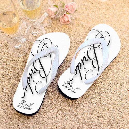 Script Bride Personalized Wedding Flip Flops, Women Medium