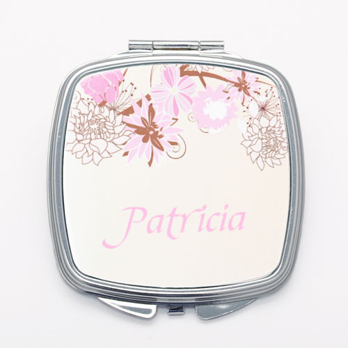 Elegant Floral Personalized Square Compact Mirror
