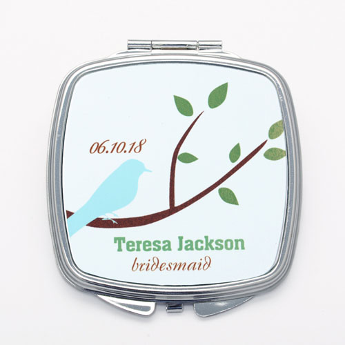 Love Bird Personalized Square Compact Mirror