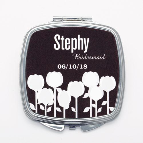 Black White Floral Personalized Square Compact Mirror