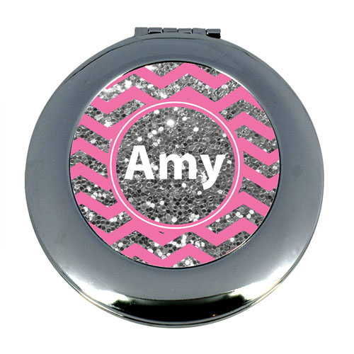 Pink Glitter Silver Personalized Round Mirror For Bridesmaids