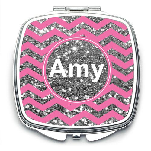 Pink Glitter Silver Personalized Square Mirror For Bridesmaids