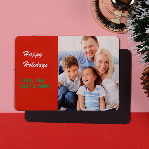 Personalized Good Blessings Photo Magnet, Red